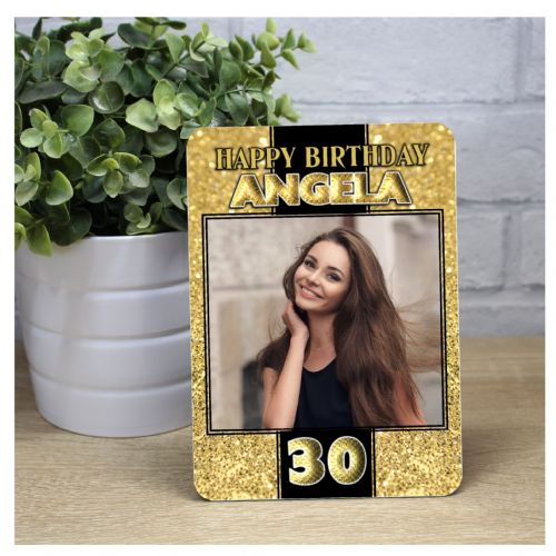 Personalised Gold Glitter Happy Birthday Wood Photo Panel F23 - Any Age